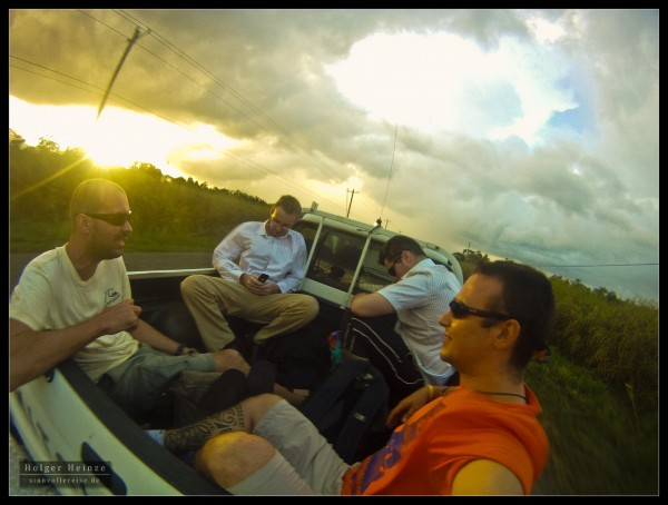 From Dangriga to Hopkins in the back of a pickup